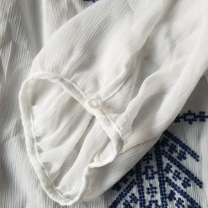 Mudd Tops - White embroidered blouse